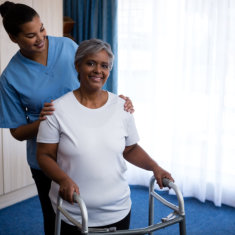 happy caregiver together with her patient